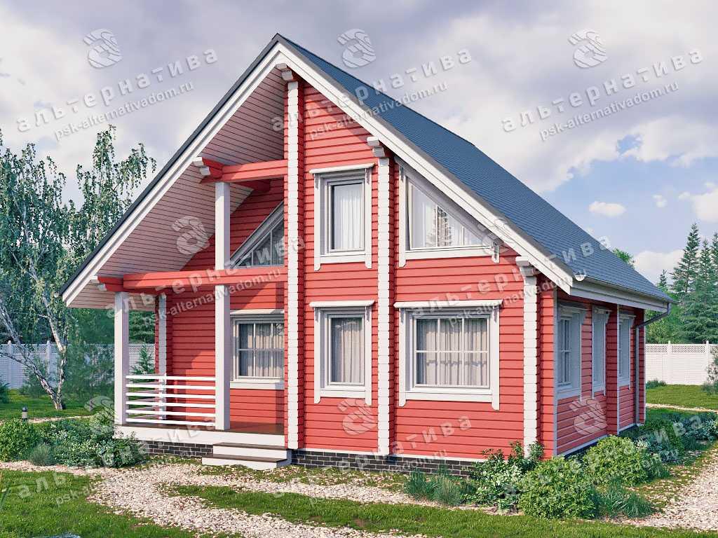 Дом 8х8, 83 м², брус