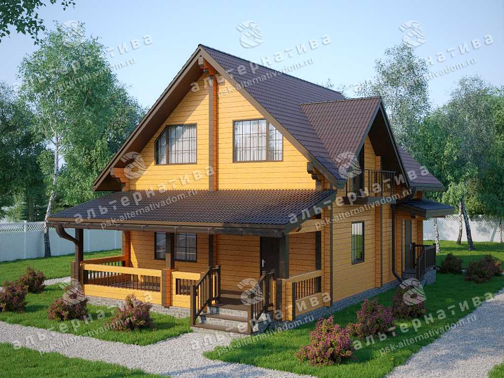 Дом 8х12, 162 м², брус