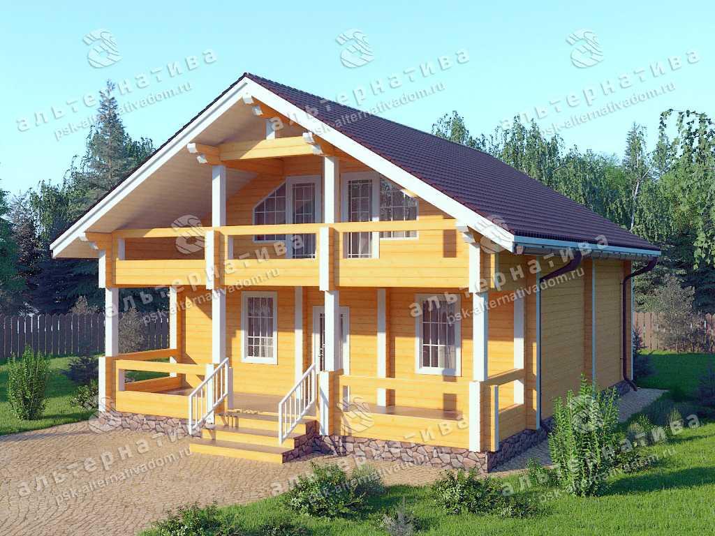 Дом 9х12, 177 м², брус