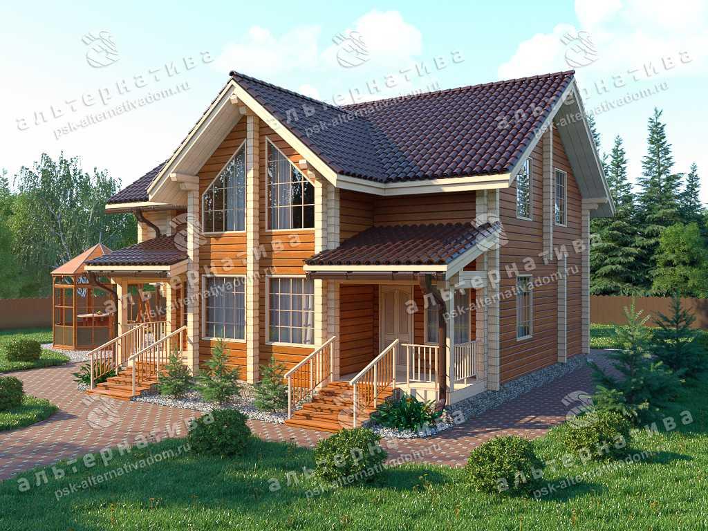 Дом 10х10, 182 м², брус