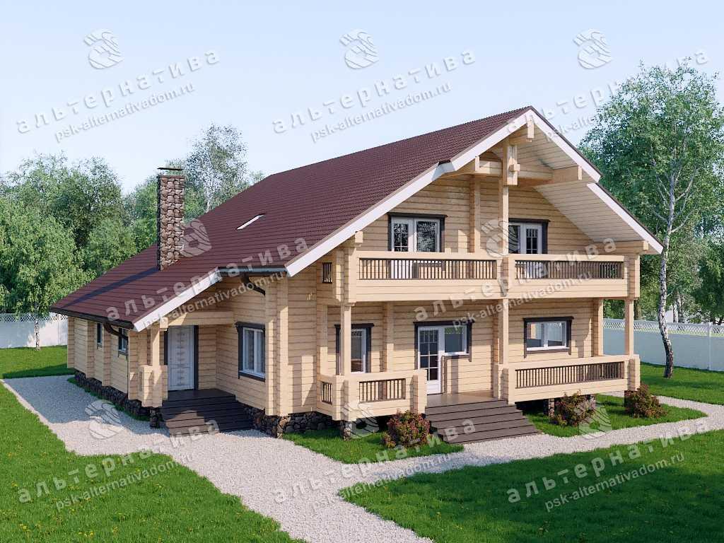Дом 16х16, 346 м², брус