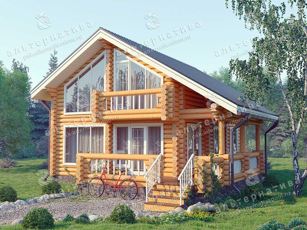 Дом 9х12, 136 м², бревно