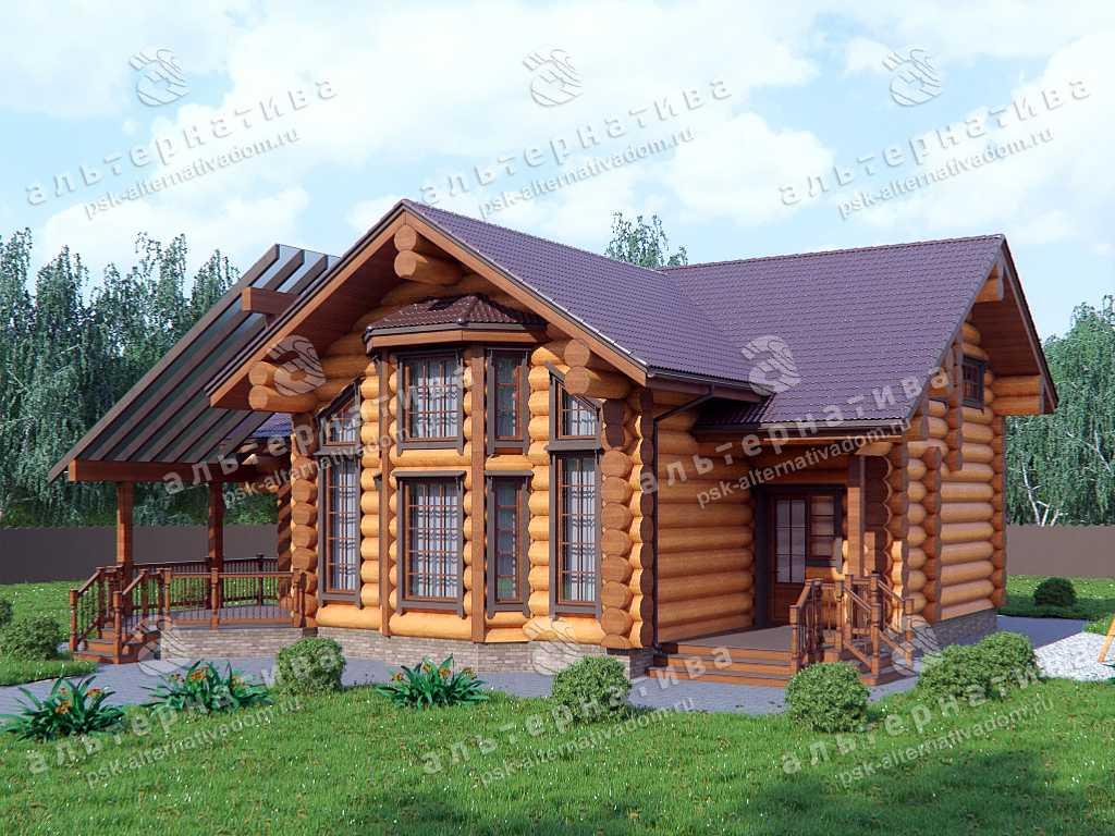 Дом 13х14, 192 м², бревно