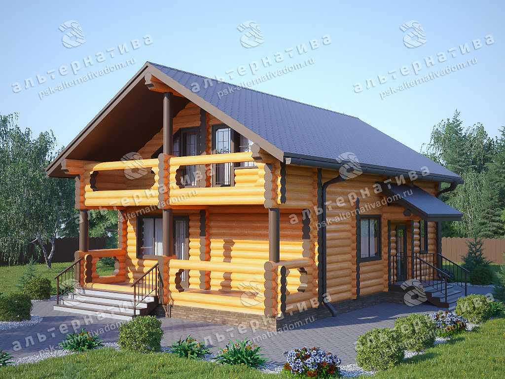 Дом 8х12, 202 м², бревно
