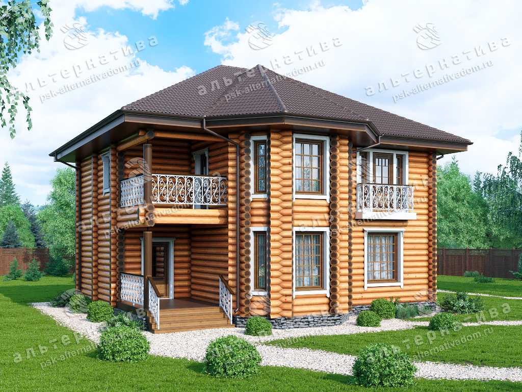 Дом 11х12, 205 м², бревно