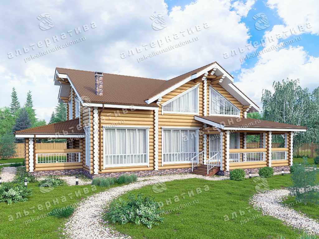 Дом 14х19, 300 м², бревно