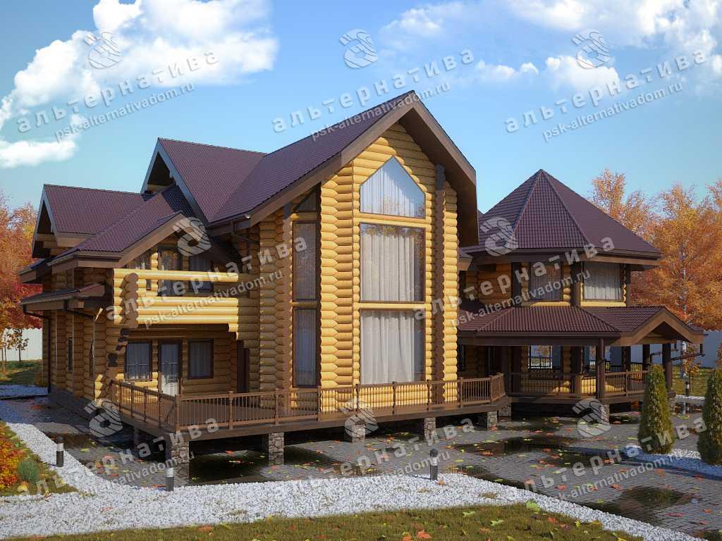 Дом 25х25, 750 м², бревно