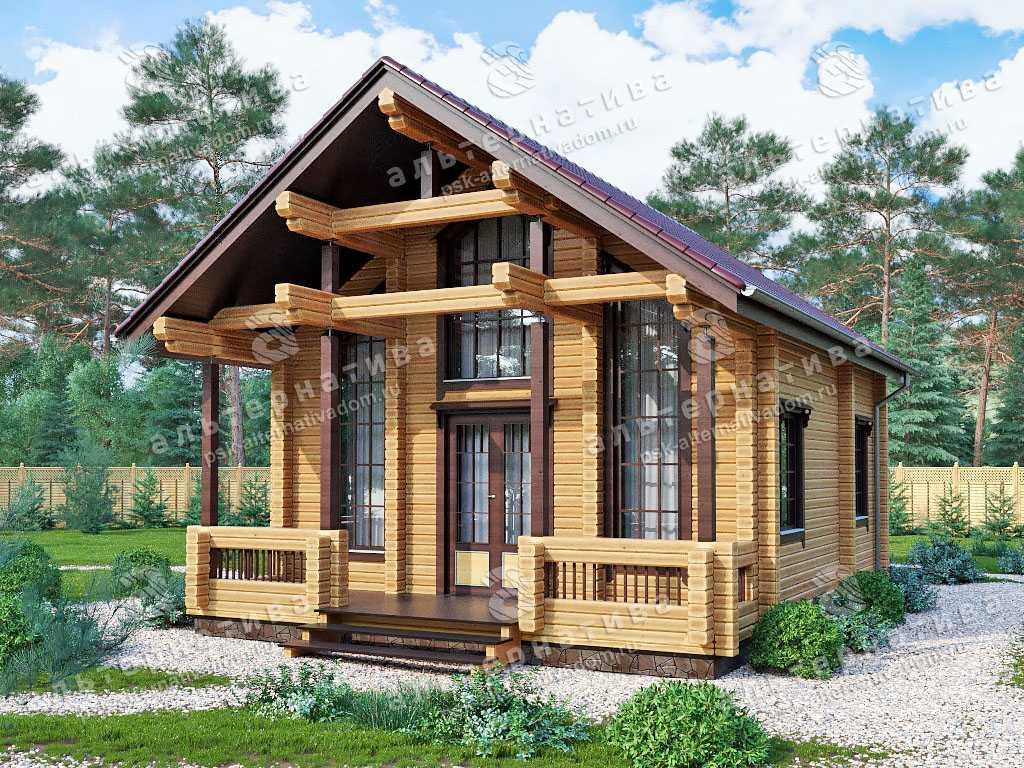Дом из бруса 8×9 цена в Новосибирске | проект ДБ-74